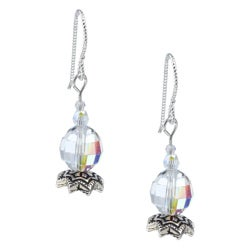 Argentium Silver AB Crystal Star Flower Earrings