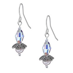 MSDjCASANOVA Argentium Silver Crystal Flower Earrings