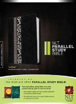 NLT Parallel Study Bible: Black / Ornate Floral TuTone LeatherLike (Paperback)