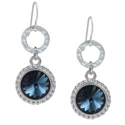 Argentium Silver London Blue Rivoli Crystal Earrings