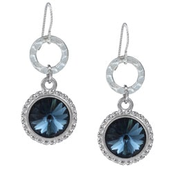 MSDjCASANOVA Argentium Silver London Blue Rivoli Crystal Earrings
