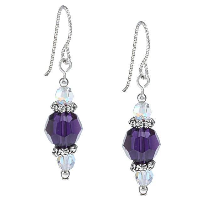 MSDjCASANOVA Argentium Silver Purple Velvet Crystal Earrings
