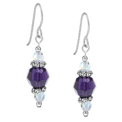 MSDjCASANOVA Argentium Silver Purple Velvet Crystal Earrings