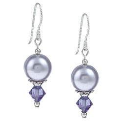 MSDjCASANOVA Argentium Silver Tanzanite AB/ Lavender Crystal Earrings