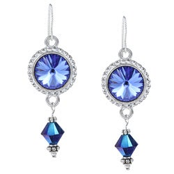Argentium Silver Sapphire Rivoli Crystal Earrings