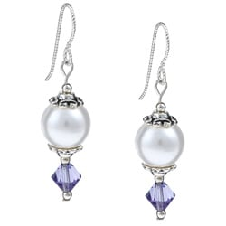 Argentium Silver White and Tanzanite Crystal Earrings