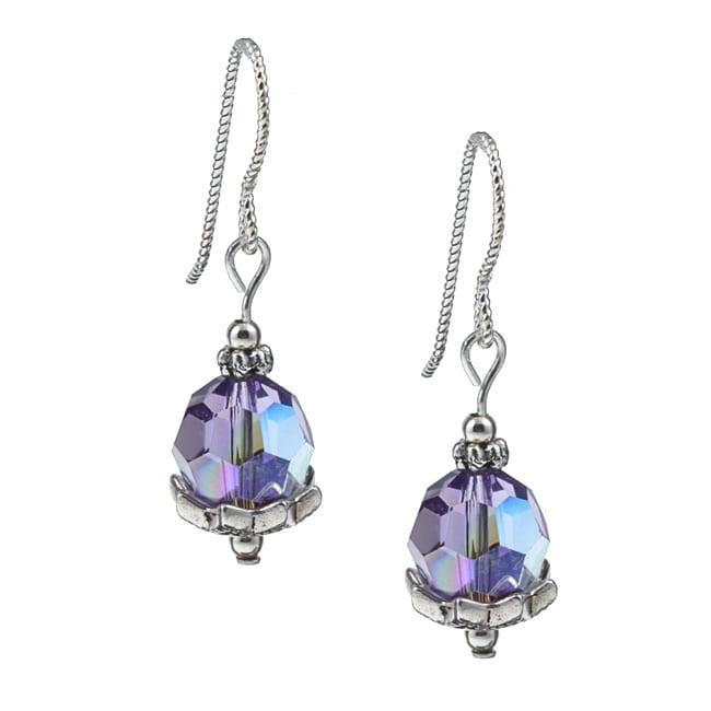 MS DJ Casanova Argentium Silver Star Flower Tanzanite Crystal Earrings