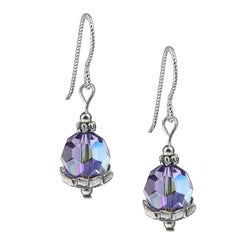 MS DJ Casanova Argentium Silver Star Flower Tanzanite Crystal Earrings