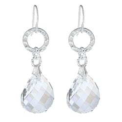 Argentium Silver Moonlight Twist Crystal Dangle Earrings