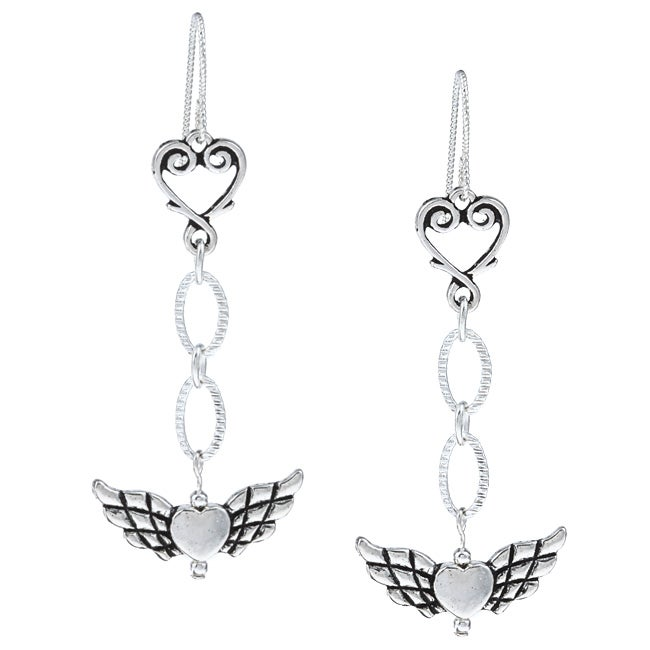 Silverplated Angel and Heart Dangle Earrings