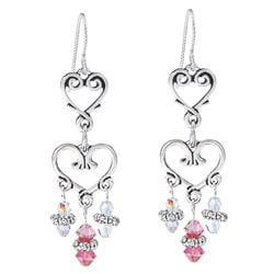 MSDjCASANOVA Argentium Silver Double Heart Crystal Dangle Earrings