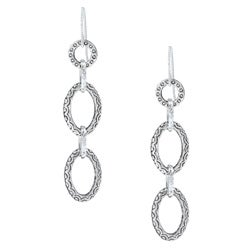 MSDjCASANOVA Argentium Silver Oval Link Dangle Earrings