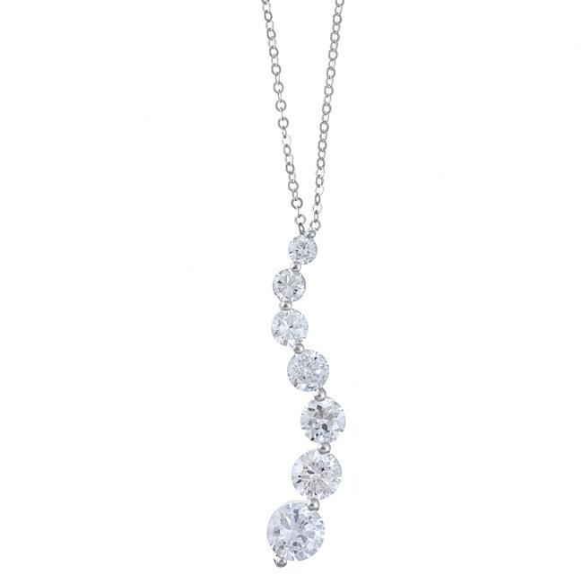 La Preciosa Sterling Silver Cubic Zirconia Graduated Necklace