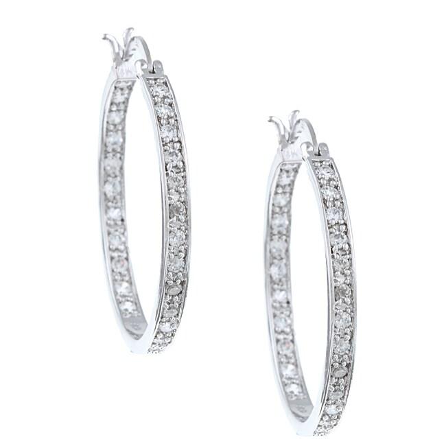 La Preciosa Sterling Silver Cubic Zirconia Hoop Earrings