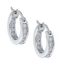 La Preciosa Silver Cubic Zirconia Inside-out Small Hoop Earrings