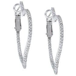 La Preciosa Sterling Silver CZ Inside-Outside Heart Hoop Earrings