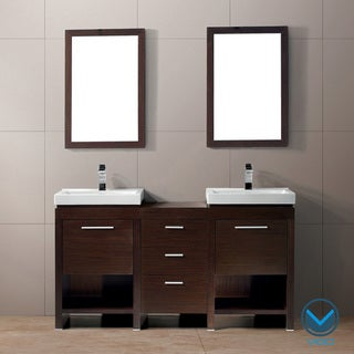 Vigo Adonia Double Freestanding Vanity with Sinks and Mirrors