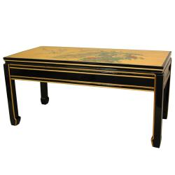 Wood and Gold Leaf Black Coffee Table (China)