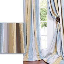 Striped Faux Silk Taffeta Blue/ Hemp Tone 84-inch Curtain Panel