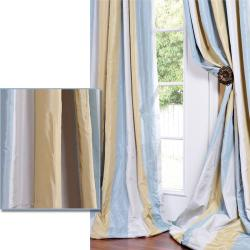 Striped Faux Silk Taffeta Blue/ Hemp Tone Curtain Panel