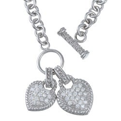 La Preciosa Sterling Silver Cubic Zirconia Double Heart Toggle Necklace