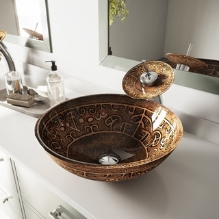 Vigo Golden Greek Vessel Sink and Waterfall Faucet