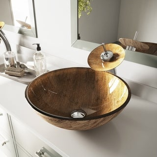 VIGO Amber Sunset Vessel Sink in Multicolor with Waterfall Faucet