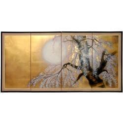 Silk 36x72-inch Gold Leaf Sakura Blossom Wall Art (China)