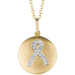 Sterling Silver/ 14k Gold Diamond Breast Cancer Awareness Necklace