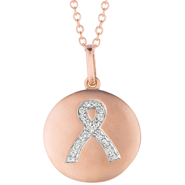 14k Gold and Silver Diamond Accent Breast Cancer Awareness Necklace