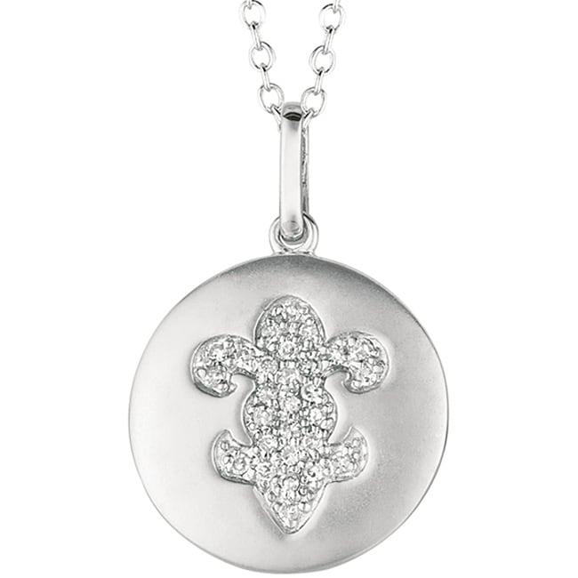 14k White Gold and Silver 1/6ct TDW Diamond Fleur De Lis Necklace (H-I, I2-I3)