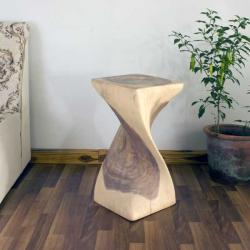 Monkey Pod Wood 24-inch Single Twist White Oil Stool (Thailand)