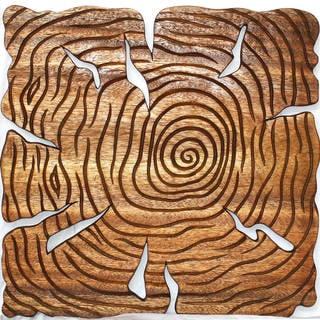 """Haussmann® Wood Wall Panels Tree Life Through 18 in x 18 in S/3 Walnut - 18"""" x 38"""" x 3"""""""