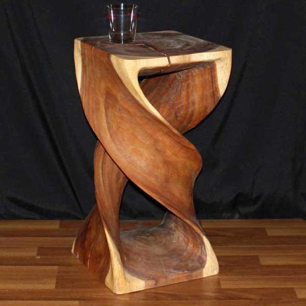 Monkey Pod Wood 23-inch Double Twist Oak Oil Stool (Thailand)