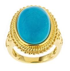 D'Yach Gold over Silver Turquoise Cabochon Ring