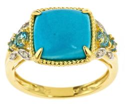 D'Yach Gold over Silver Turquoise and Blue Topaz Ring
