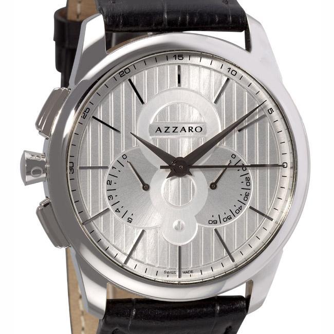 Azzaro Mens Legend Chrono Black Leather Strap Retrograde Watch