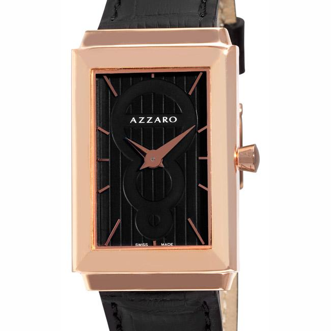 Azzaro Men's 'Legend Rectangular' Rose Gold PVD Black Strap Watch