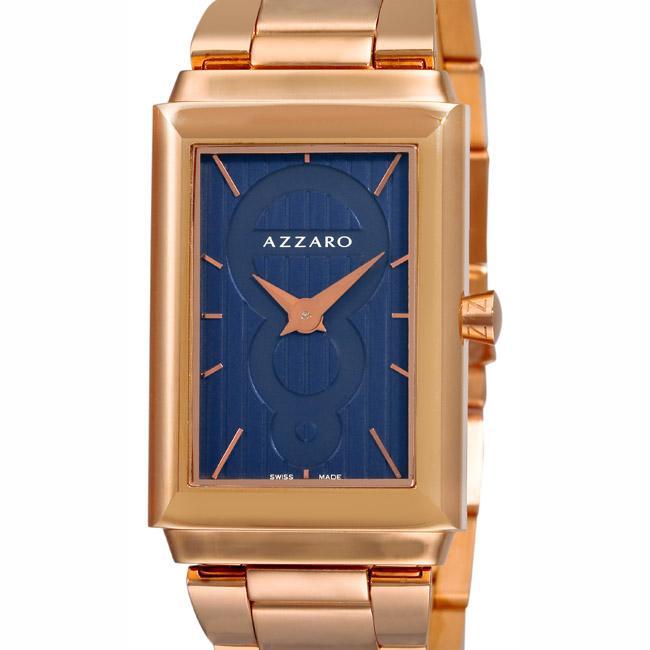 Azzaro Men's 'Legend Rectangular' Rose Gold PVD Blue Face Watch