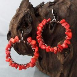 Sterling Silver Copper Wrap Red Coral Hoop Earrings (Thailand)