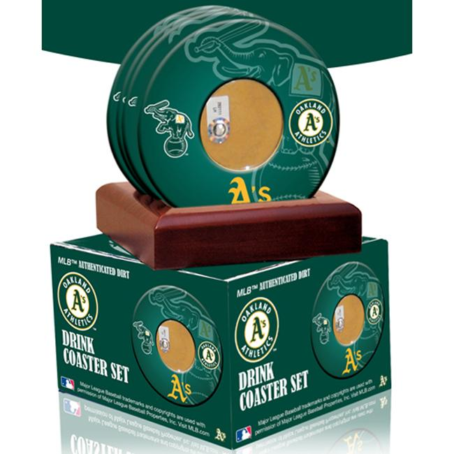 Steiner Sports Oakland Athletics Coasters w/ Game Field Dirt (Set of 4)