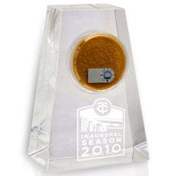 Minnesota Twins 2010 Inaugural Season Tapered Crystal Paperweight w/ Game Field Dirt