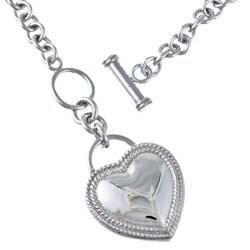 La Preciosa Sterling Silver Cubic Zirconia Heart Toggle Necklace