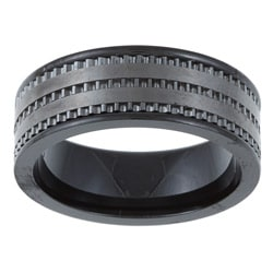 Black Ceramic Men's Milligrain Band (6 mm)