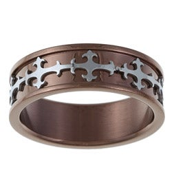 Brown Ion-plated Stainless Steel Men's Cross Band (8 mm)