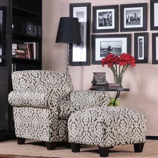 Portfolio Mira Gray and Ivory Medallion Arm Chair and Ottoman