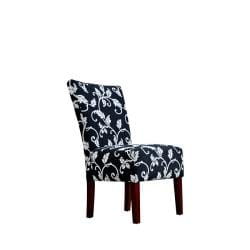 angelo:HOME Bradford Charcoal Black and White Vine Upholstered Armless Chairs (Set of 2)