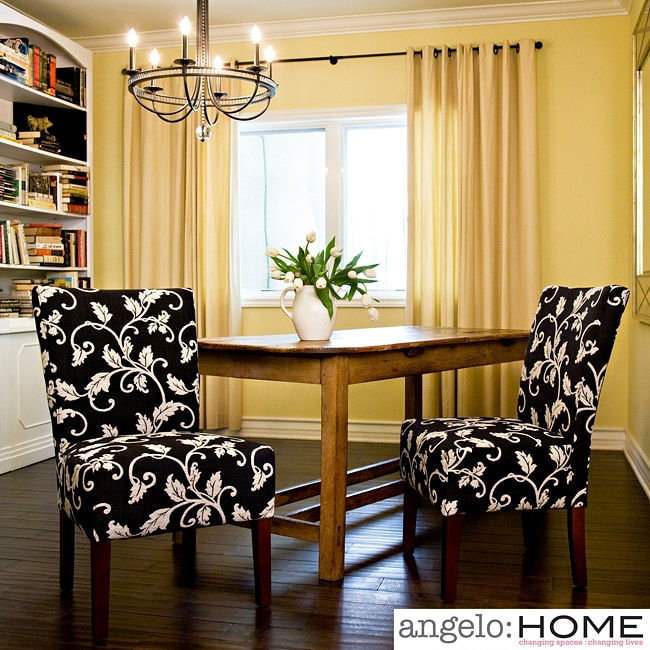 Angelohome angelo:HOME Bradford Charcoal Black and White Vine Upholstered Armless Chairs (Set of 2) at Sears.com