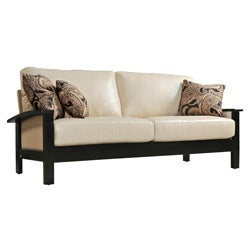 angelo:HOME Mercer Almond Renu Leather Sofa with Paisley Park Pillows