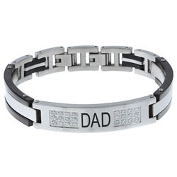 Stainless Steel Men's Cubic Zirconia 'Dad' Bracelet